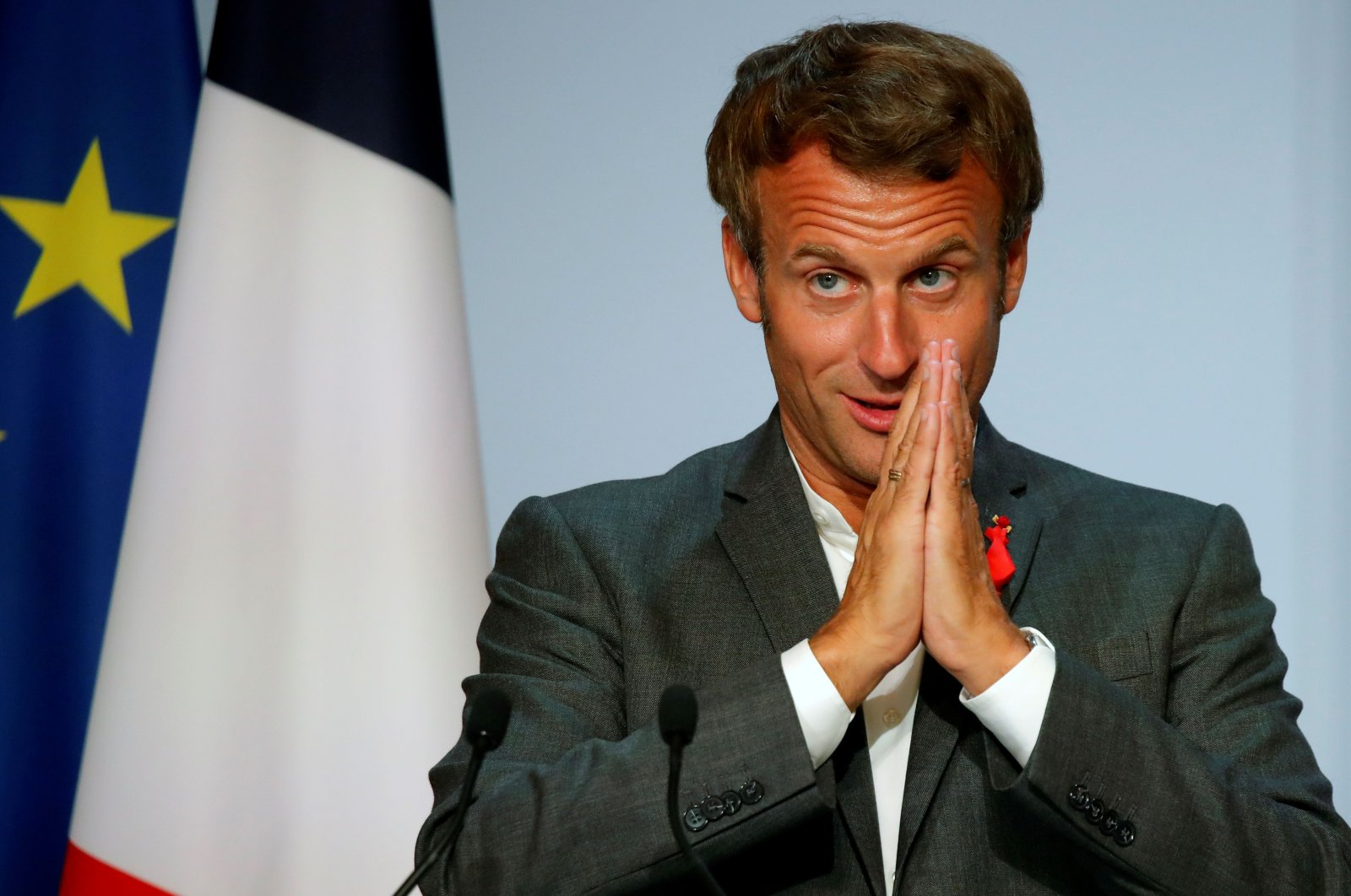 French President Emmanuel Macron gestures as he delivers an address to French tech startups at the closing ceremony of the National Council of French Tech Capitals and Communities (CNCC) at Elysee Palace in Paris on Sept. 14, 2020. (AFP Photo)
