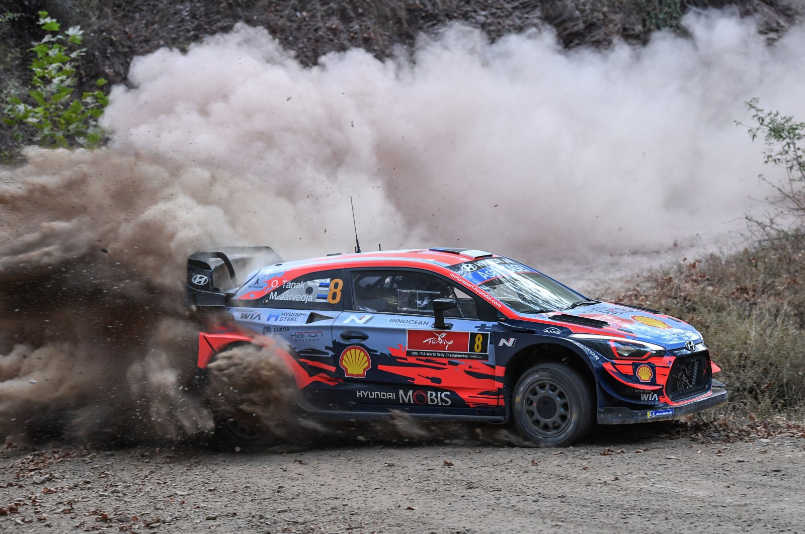 Ott Tanak of Estonia and his co-driver Martin Jarveoja steer their Hyundai i20 Coupe car during the Gökçe stage on the first day of the Rally Turkey as part of the World Rally Championship in Marmaris, Sept. 18, 2020. (AFP Photo)