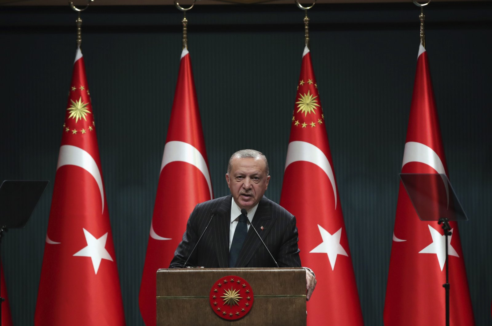 President Recep Tayyip Erdoğan speaks during a televised address following a weekly Cabinet meeting, in Ankara, Turkey, Aug. 24, 2020. (Turkish Presidency via AP)