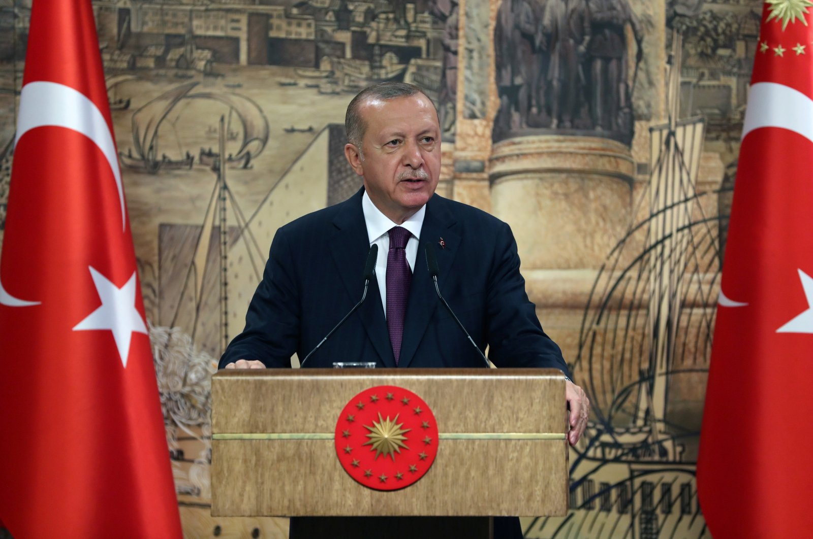 Turkey's President Tayyip Erdoğan addresses the nation in Istanbul, Turkey, August 21, 2020. (Reuters Photo)