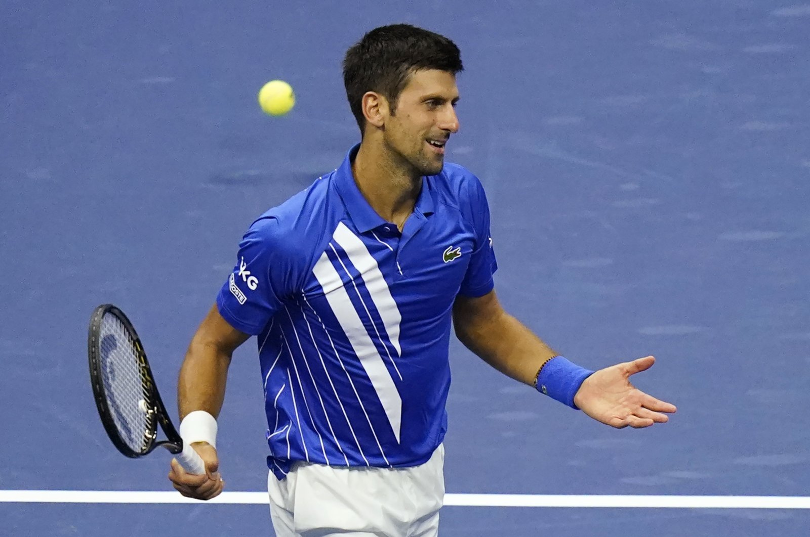 Novak Djokovic, of Serbia, reacts to missing a point to Jan-Lennard Struff, of Germany, during the third round of the U.S. Open tennis championships, Friday, Sept. 4, 2020, in New York. (AP Photo)