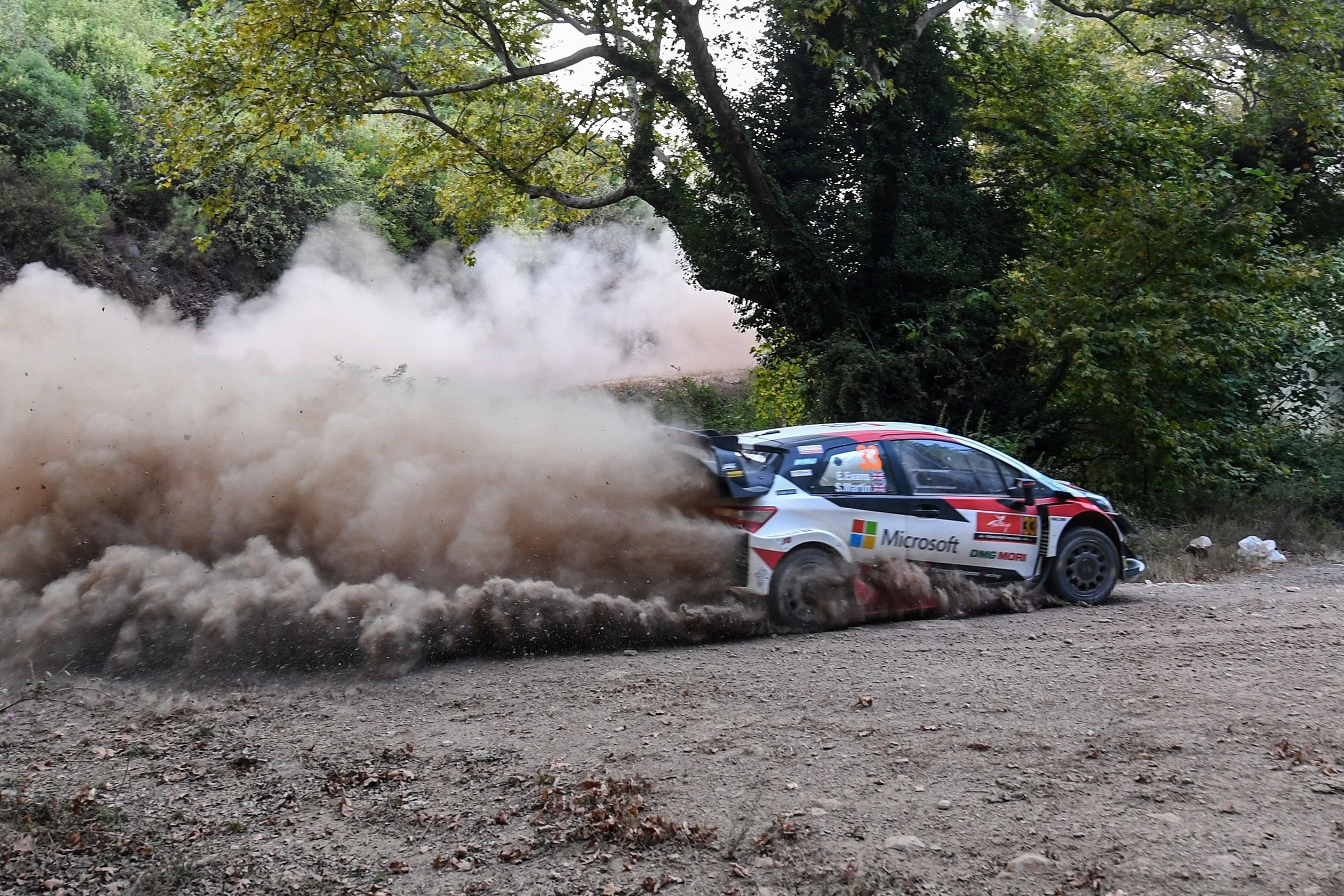 British pilot Elfyn Evans and his co-driver Scott Martin steer their Toyota Yaris WRC car during the Gokce stage on the first day of the Turkey rally as part of the WRC rally world Championship at Marmaris in Muğla, Turkey, Sept. 20, 2020. (AFP Photo)
