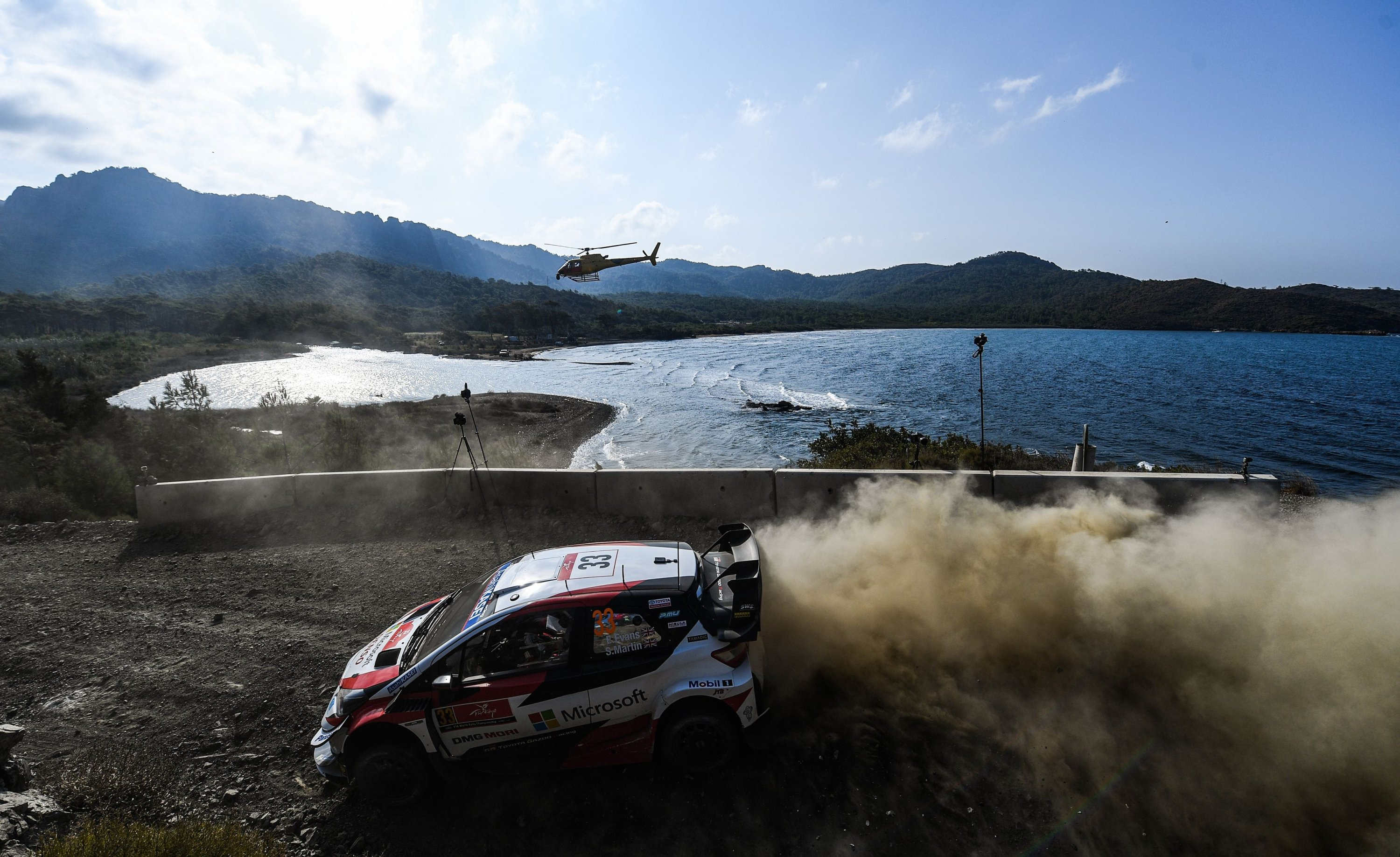British pilot Elfyn Evans and co-driver Scott Martin steer their Toyota Yaris WRC racing car during the Yesilbelde stage on the second day of the Turkish WRC rally in Muğla, Turkey, Sept. 20, 2020. (AFP Photo)