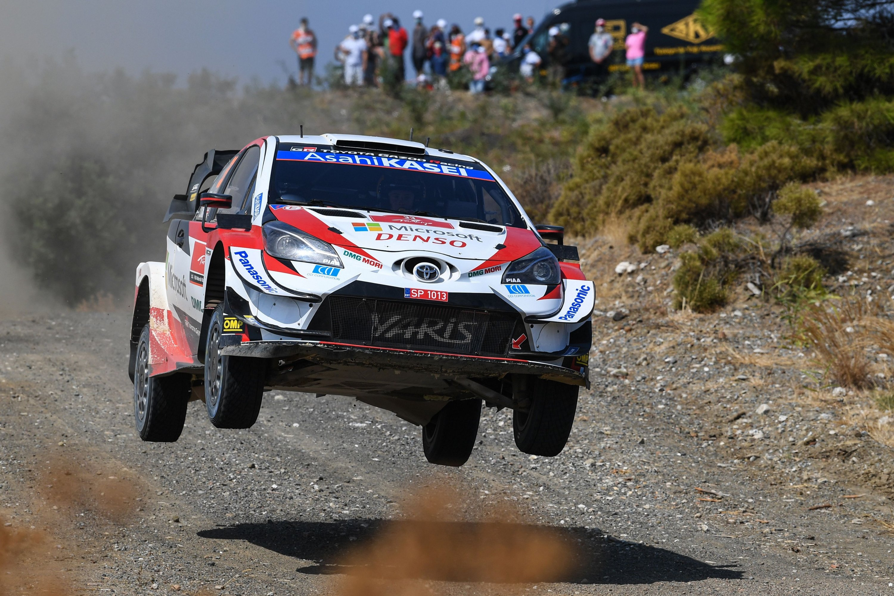British pilot Elfyn Evans and co-driver Scott Martin steer their Toyota Yaris WRC racing car during the Kizlan stage on the second day of the Turkish WRC rally in Muğla, Turkey,  Sept. 20, 2020. (AFP Photo)