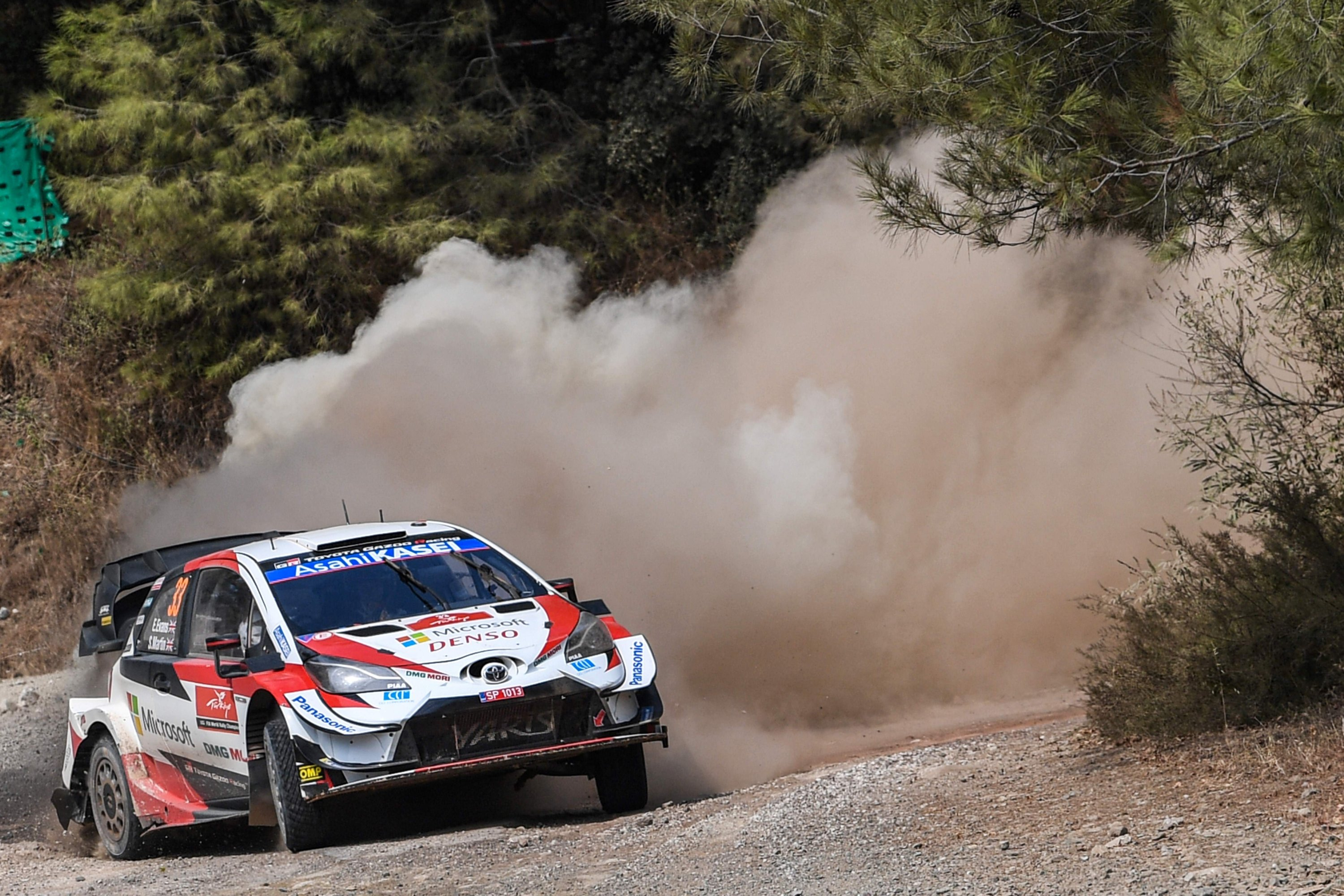 British pilot Elfyn Evans and co-driver Scott Martin steer their Toyota Yaris WRC racing car during the Marmaris stage on the third and last day of the Turkish WRC rally in Muğla, Turkey,  Sept. 20, 2020. (AFP Photo)