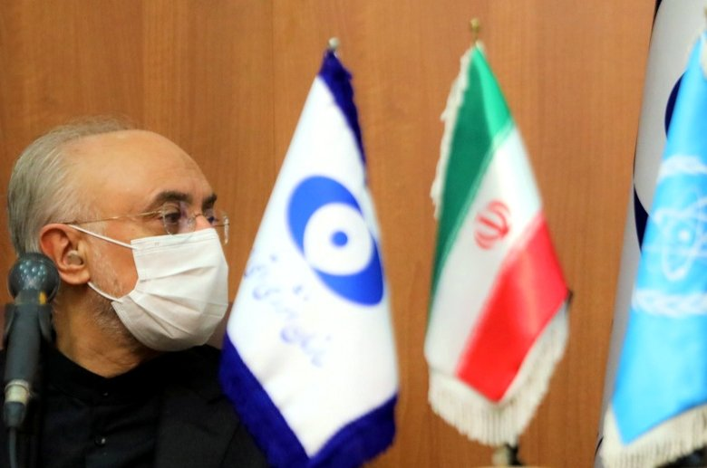 A handout picture provided by the Atomic Energy Organization of Iran (AEOI) shows the head of the country's atomic agency, Ali Akbar Salehi, looking at the director-general of the International Atomic Energy Agency (IAEA) during a joint press conference in Tehran, Iran, Aug. 25, 2020. (Atomic Energy Organization of Iran Photo via AFP)