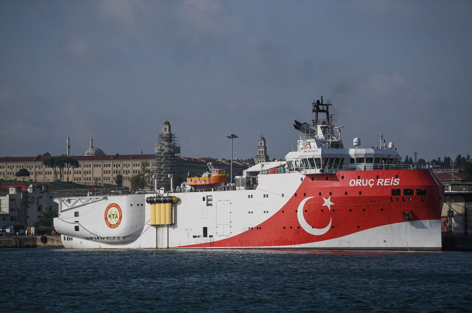 A view of Turkey's Oruç Reis seismic research vessel docked at Haydarpaşa Port, which searches for hydrocarbon, oil, natural gas and coal reserves at sea, Aug. 23, 2019. (AFP Photo)