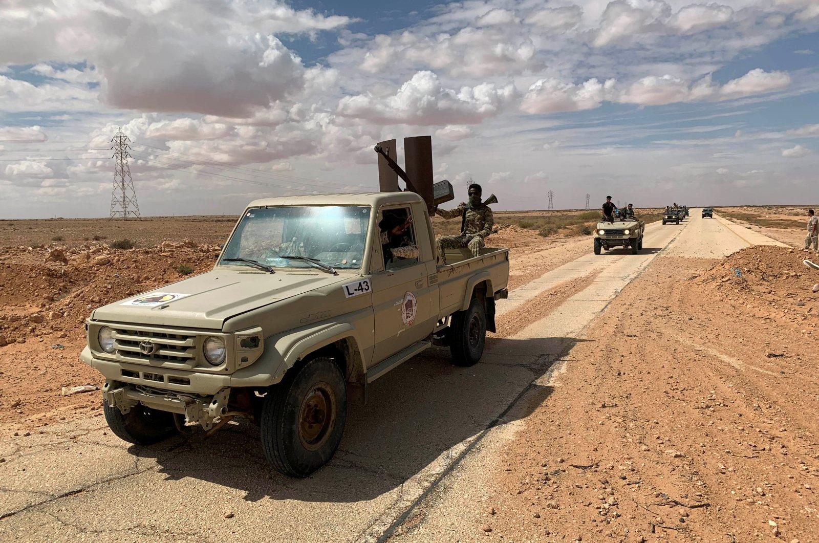 Troops loyal to Libya's internationally recognized government patrol the area in Zamzam, near Abu Qareen, Libya September 15, 2020. (REUTERS Photo)