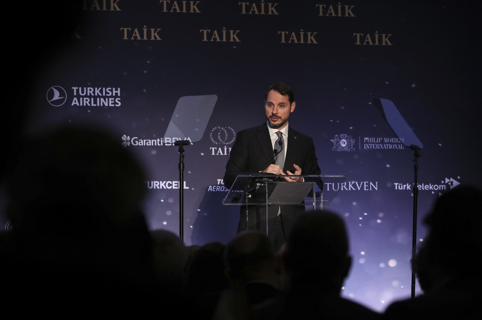 Turkey's Treasury and Finance Minister Berat Albayrak speaks at the 10th Turkey investment conference organized by Turkey's Foreign Economic Relations Board (DEİK) Turkey-US Business Council (TAİK) in New York, the U.S., Sept. 26, 2019. (AA Photo)