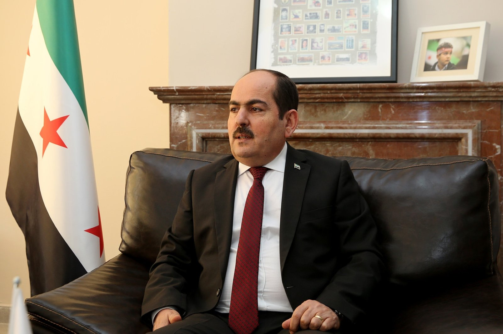 Abdurrahman Mustafa, head of the Syrian Interim Government, speaks during an interview with Daily Sabah, Sept.17, 2018. (Daily Sabah)