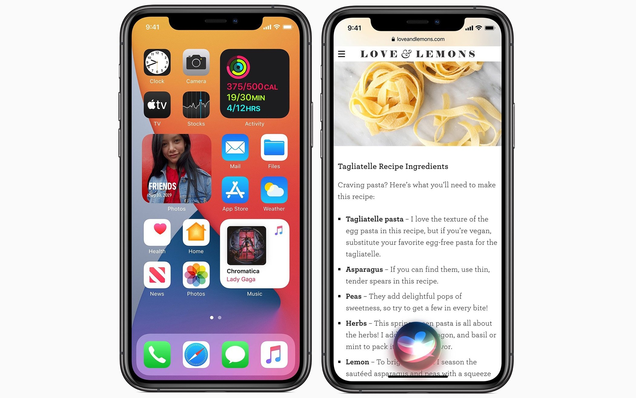iOS 14's widgets (L) and the new design of Apple's Siri personal assistant are seen in this photo released on September 18, 2020. (Photo courtesy of Apple)