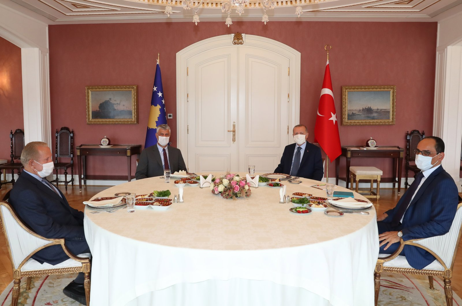President Recep Tayyip Erdoğan came together with Kosovar President Hashim Thaci in Istanbul's Vahdettin Mansion, Sept. 20, 2020. (AA Photo)