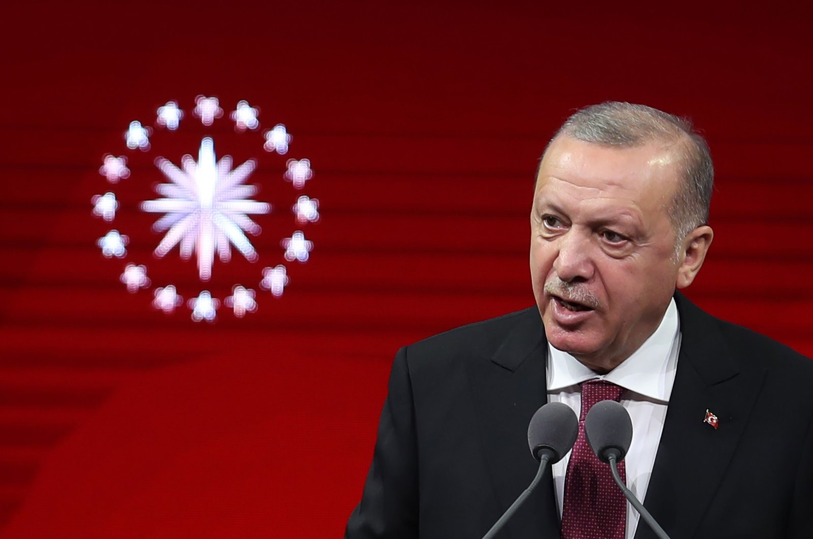 President Recep Tayyip Erdoğan speaks during the State Medal of Commendation Ceremony at Beştepe National Congress and Culture Center in the capital Ankara, Sept. 17, 2020. (AFP)
