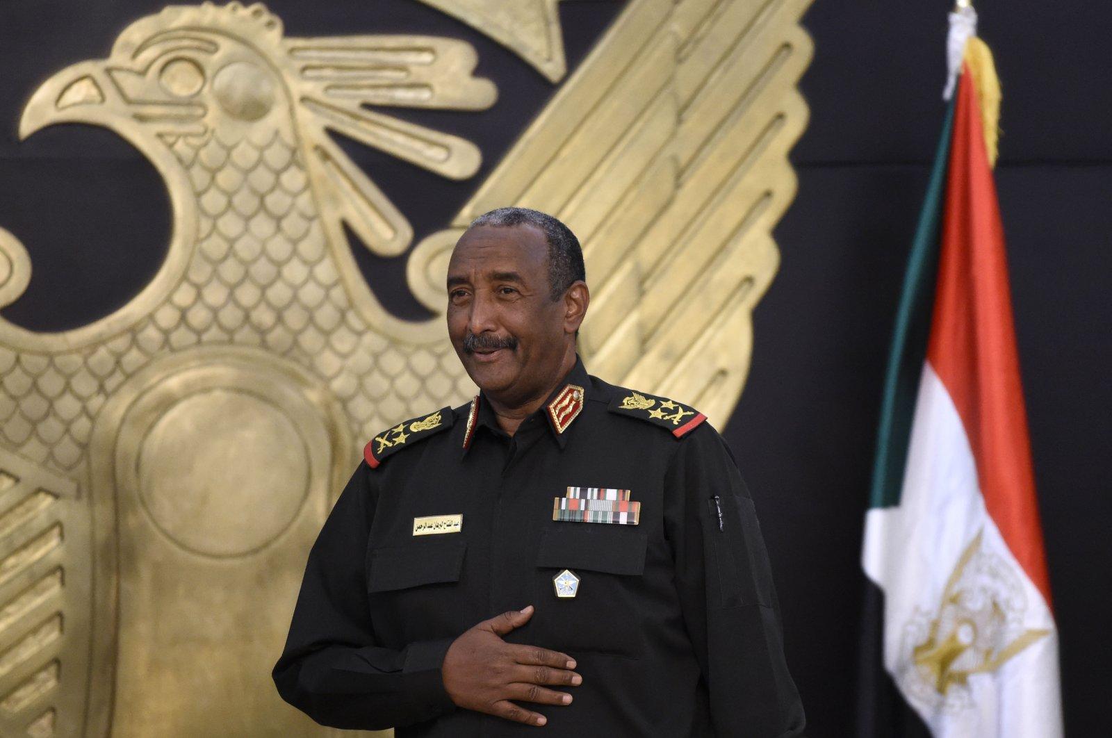 Gen. Abdel-Fattah Burhan, Sudan's head of the Transitional Military Council, meets with Bahraini aid officials in Sudan's capital Khartoum, Sept. 15, 2020. (AFP Photo)