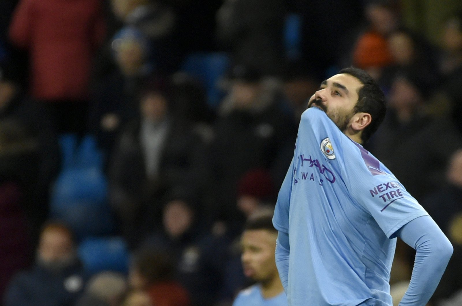 Manchester City's Ilkay Gündoğan reacts at the end of a Premier League match against Crystal Palace, in Manchester, England, Jan. 18, 2020. (AP Photo)