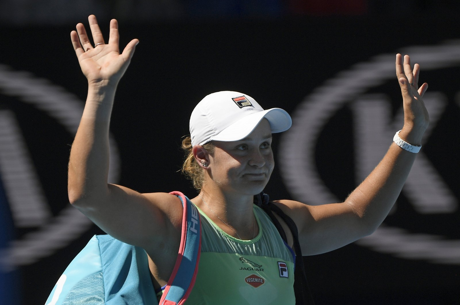 Ashleigh Barty reacts after losing her semifinal against Sofia Kenin at the Australian Open tennis championship in Melbourne, Australia, Jan. 30, 2020. (AP Photo)