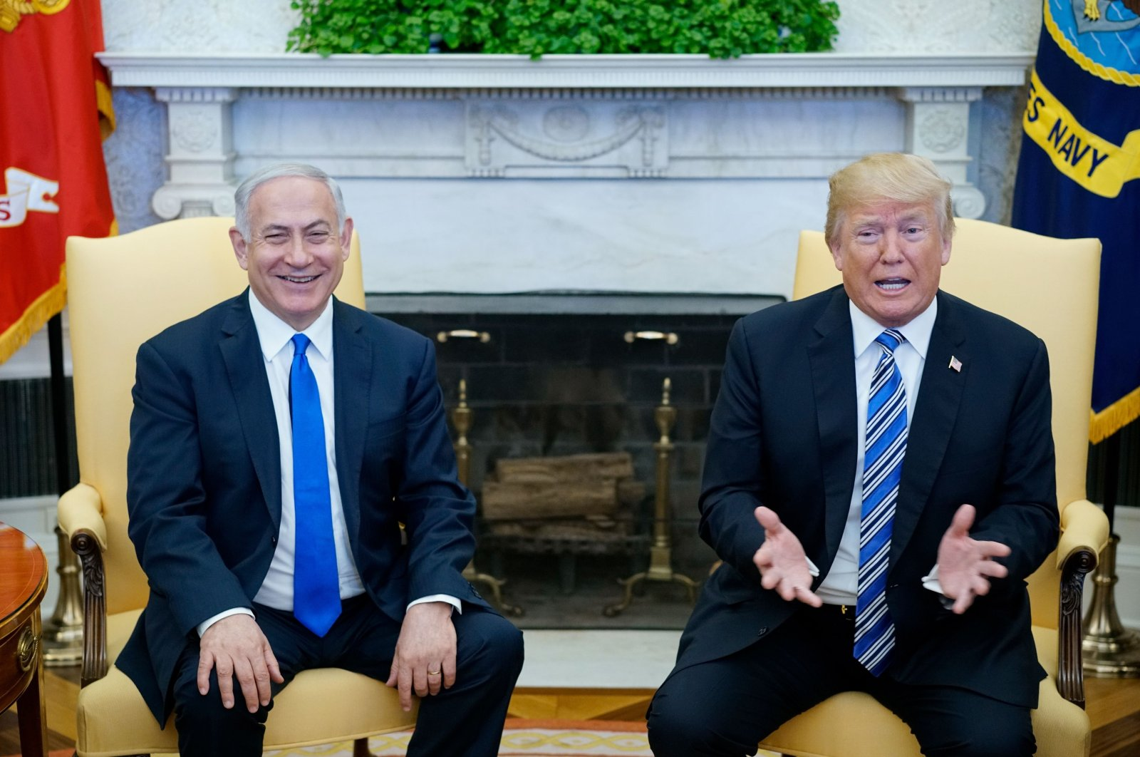 U.S. President Donald Trump speaks during a meeting with Israel's Prime Minister Benjamin Netanyahu in the Oval Office of the White House, Washington, D.C., March 5, 2018. (AFP Photo)