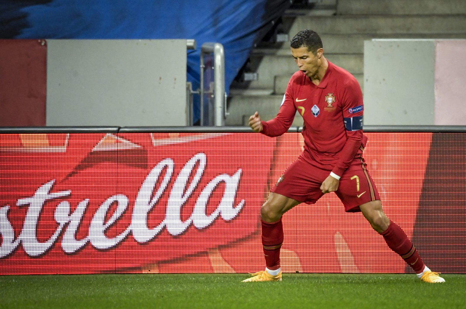 Portugal's Cristiano Ronaldo celebrates scoring his second goal against Sweden during their UEFA Nations League Group stage soccer match at Friends Arena in Stockholm, Sweden, Sept. 8, 2020. (TT via AP)