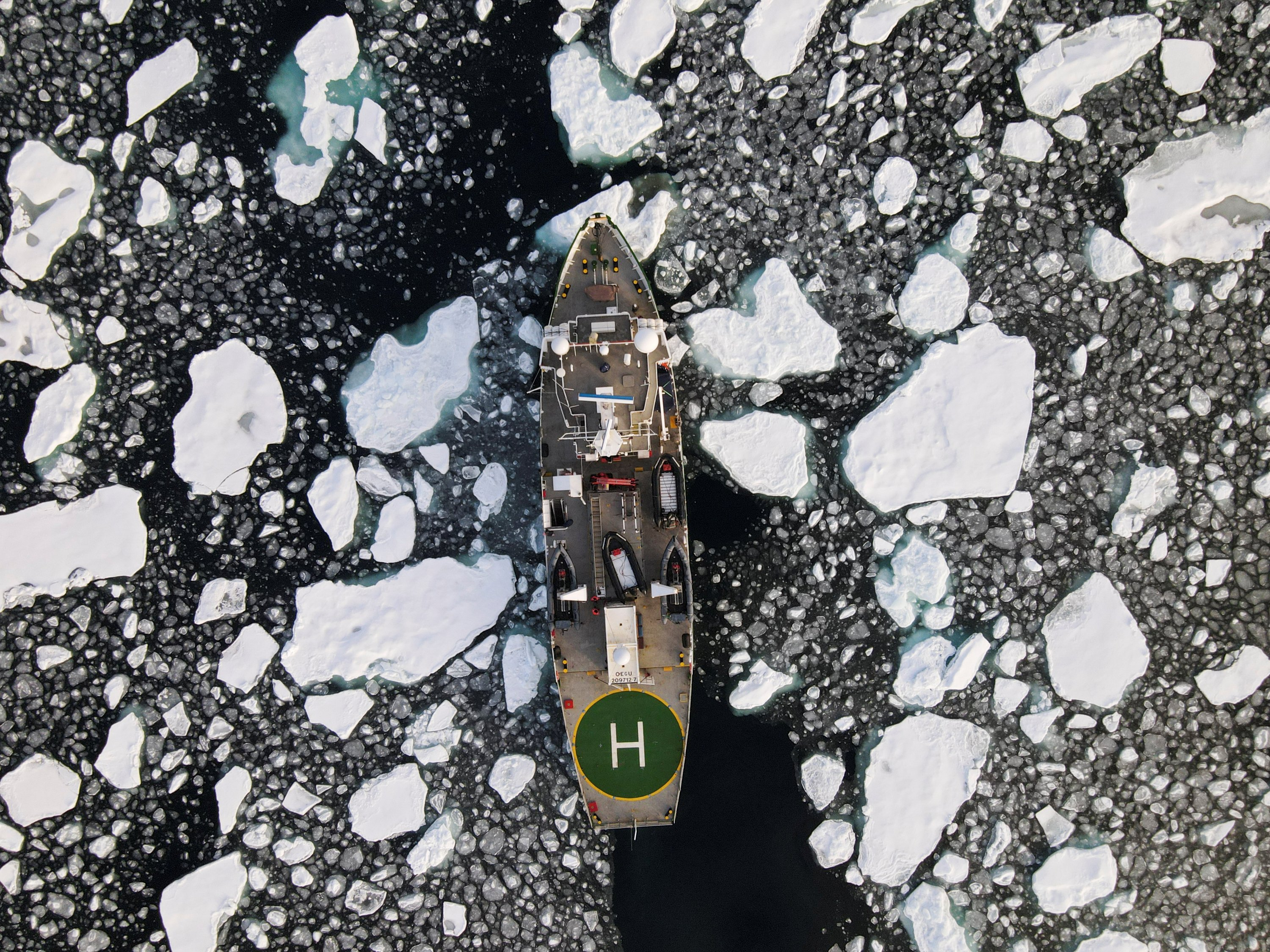 Greenpeace's Arctic Sunrise ship navigates through floating ice in the Arctic Ocean, Sept. 15, 2020. (Reuters Photo)