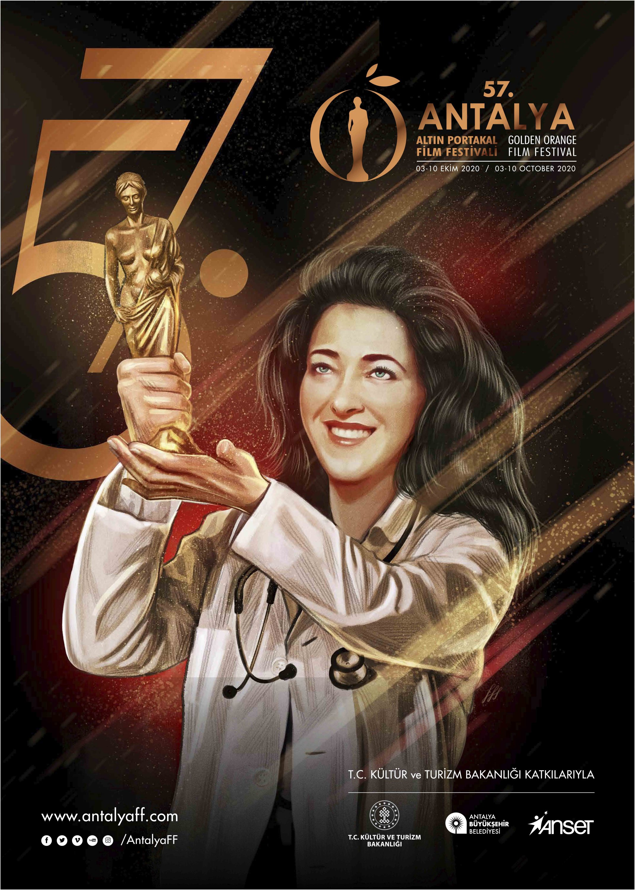 The poster of the 57th Antalya Film Festival shows a doctor holding the top award as a tribute to the medical staff fighting against the coronavirus.