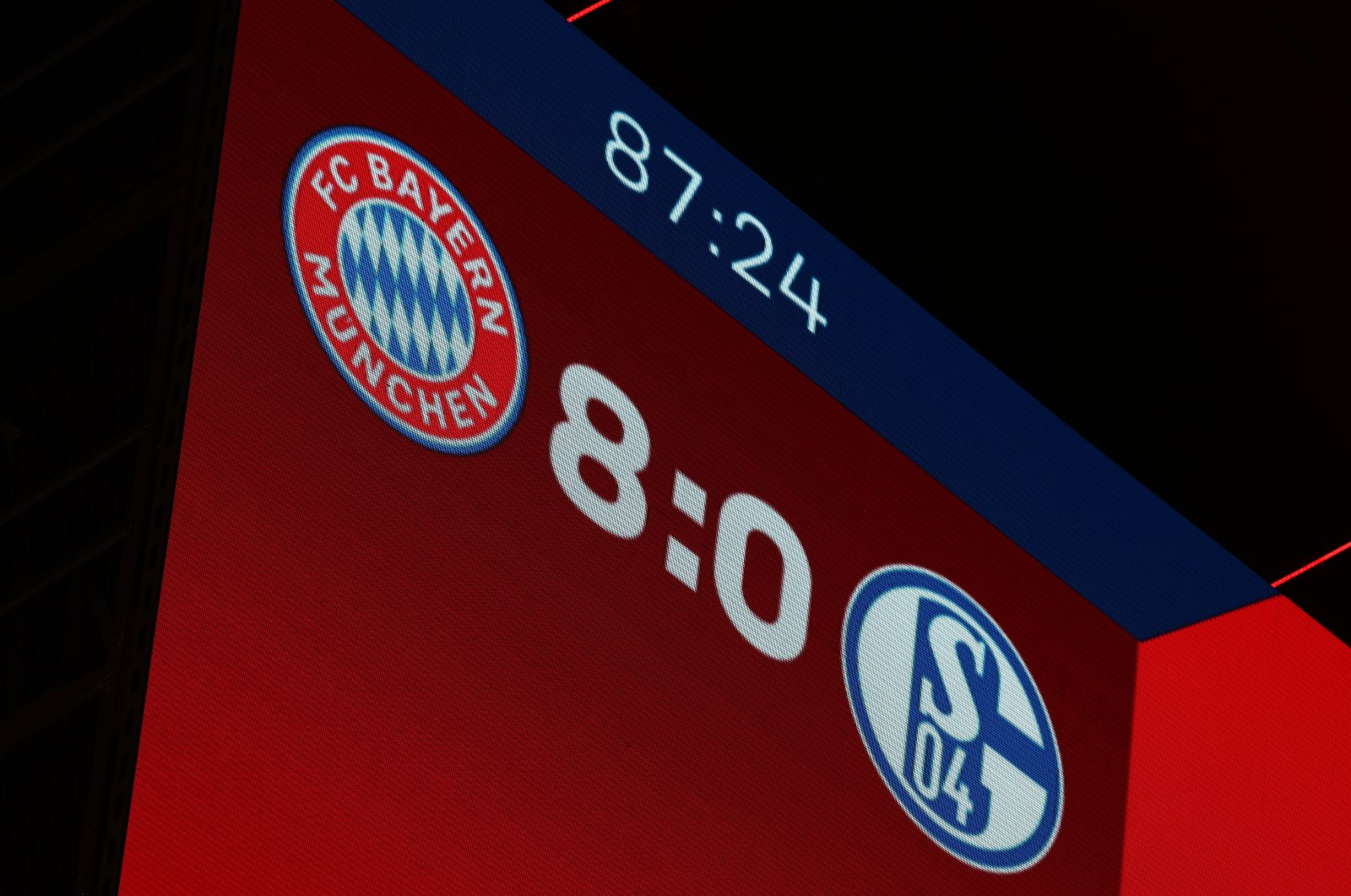 A general view of the scoreboard during the Bundesliga match between Bayern Munich and Schalke, in Munich, Germany, Sept. 18, 2020. (AP Photo)
