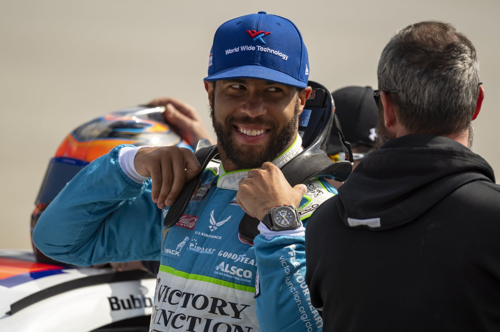 Bubba Wallace gets ready for a NASCAR race in Dover, Delaware, U.S., Oct. 5, 2019. (AP Photo)