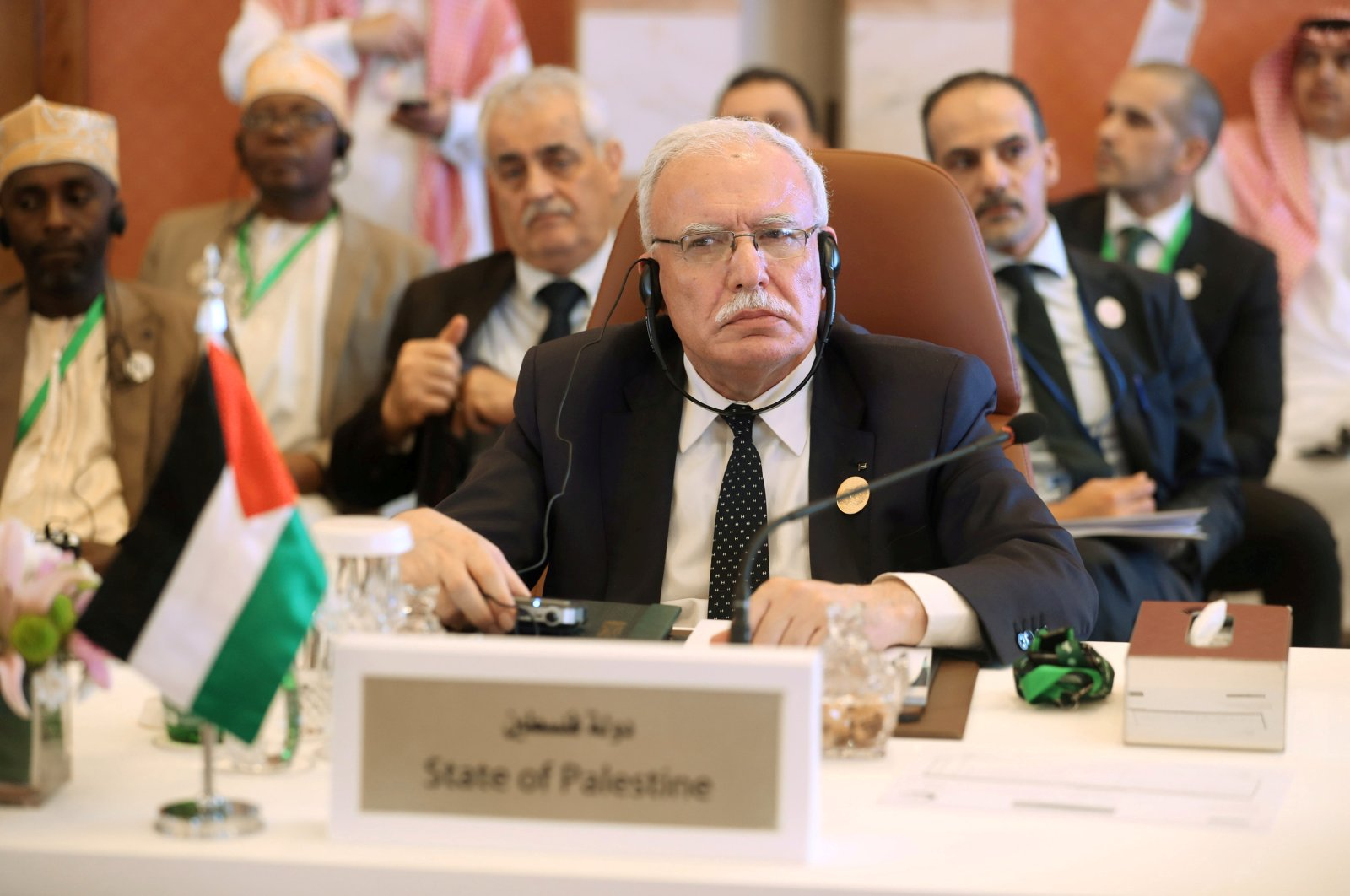 Palestinian Foreign Minister Riyad al-Maliki is seen during a preparatory meeting for the Gulf Cooperation Council (GCC),  Jeddah, May 29, 2019. (REUTERS Photo)