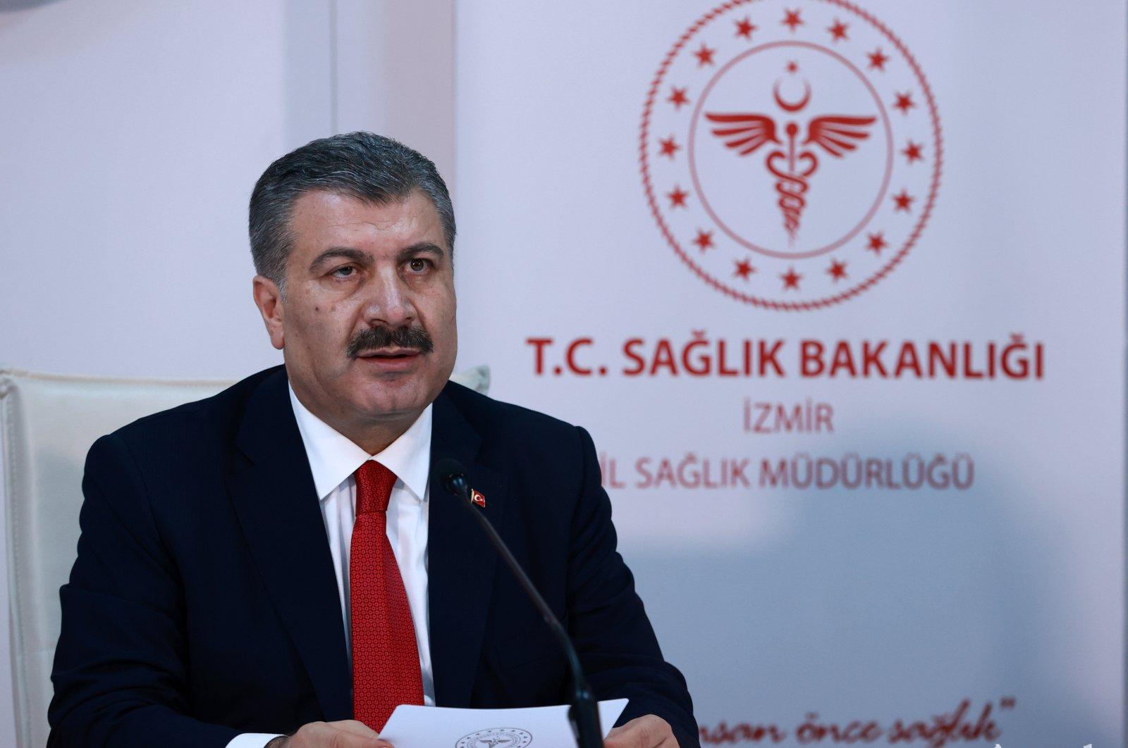 Health Minister Fahrettin Koca speaks at an event in İzmir, western Turkey, Sept. 19, 2020. (AA Photo)