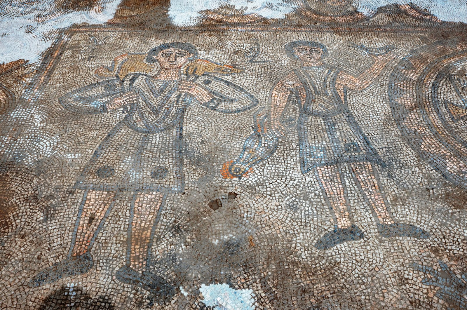A view of one of the mosaics found at the church, in Mardin, southeastern Turkey, Sept. 22, 2020. (AA Photo)