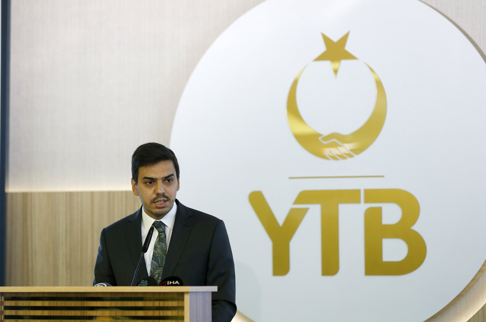 YTB President Abdullah Eren speaks at an event in the capital Ankara, Turkey, Sept. 22, 2020. (AA Photo)