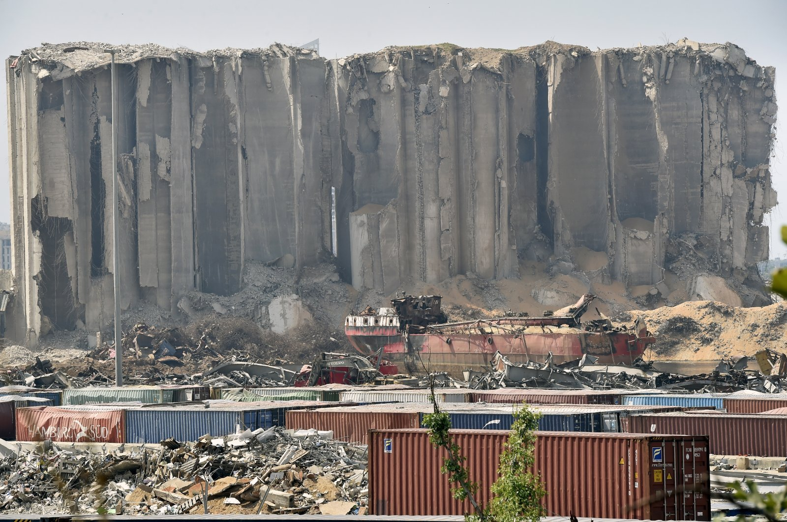 The damaged grain silos in the destroyed port area one month after a huge explosion, Beirut, Sept. 6, 2020. (EPA Photo)