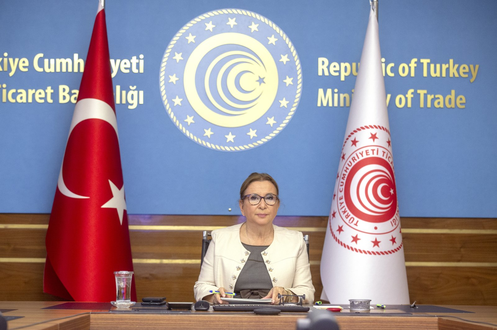 Trade Minister Ruhsar Pekcan attends the Turkey-Korea Business and Investment Meeting Forum via videoconference, Ankara, Turkey, Sept. 22, 2020. (AA Photo)