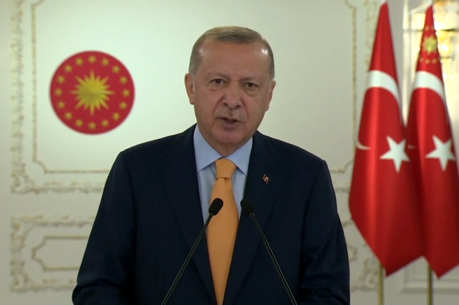President Recep Tayyip Erdoğan speaks via videoconference during the 75th General Assembly of the United Nations, Sept. 22, 2020. (Screengrab from the U.N. video stream)