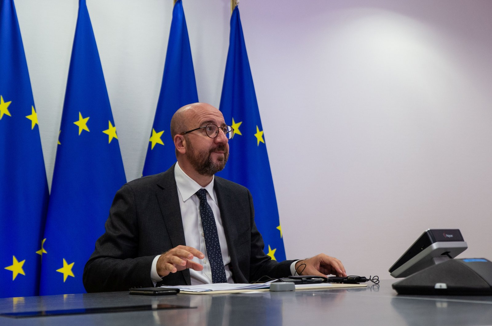 European Council President Charles Michel attends a videoconference with Turkish President Recep Tayyip Erdoğan and German Chancellor Angela Merkel at the European Council Headquarters in Brussels, Belgium, Sept. 22, 2020. (Reuters Photo)