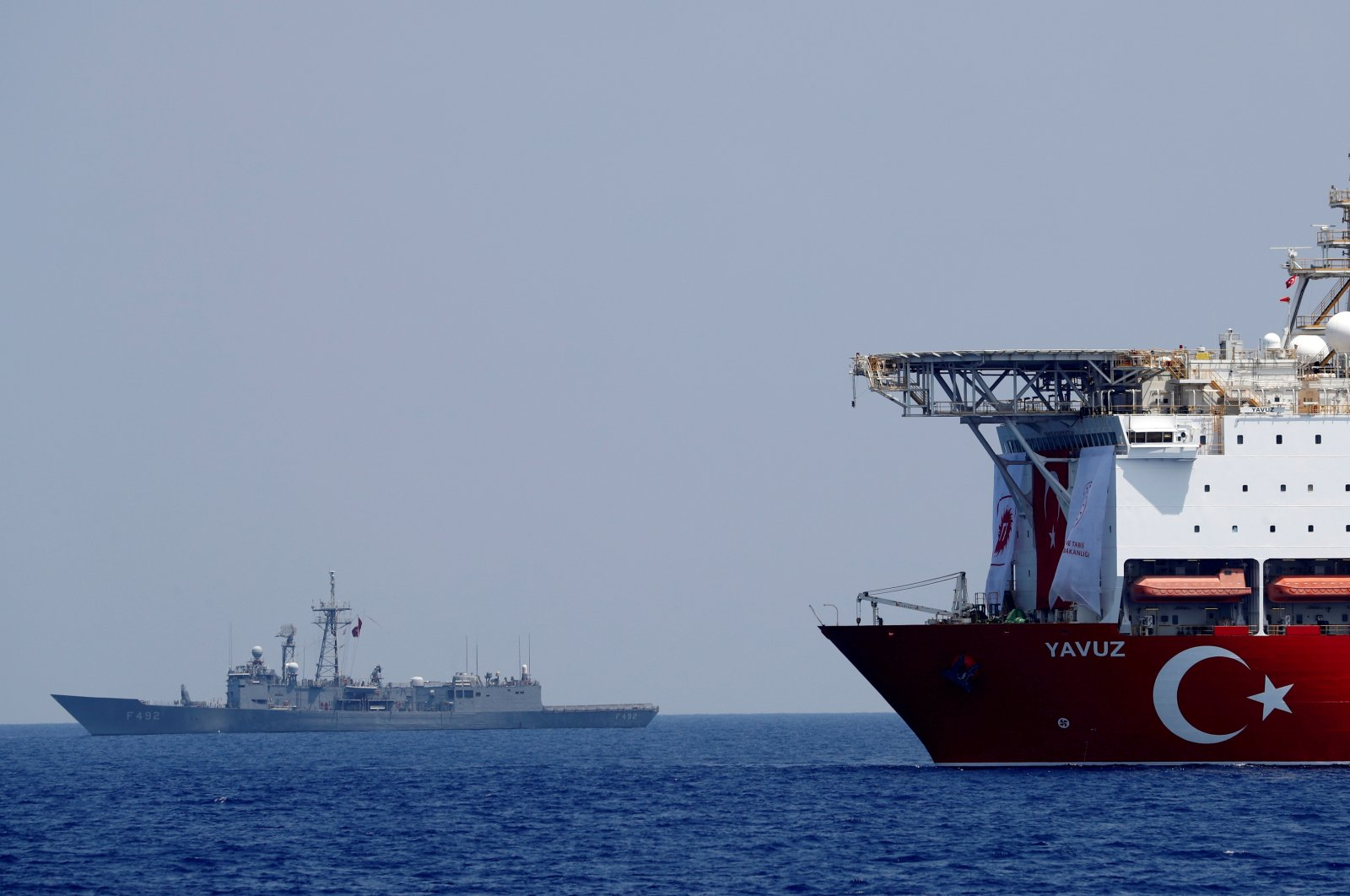 The Turkish drilling vessel Yavuz being escorted by a Turkish navy frigate in the Eastern Mediterranean, Aug. 6, 2019. (REUTERS Photo)
