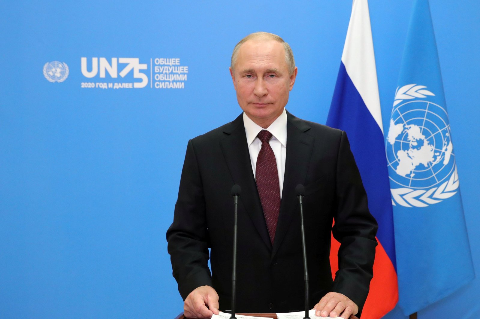Russia's President Vladimir Putin is seen during his video address to the United Nations General Assembly in Moscow, Russia, Sept. 22, 2020.