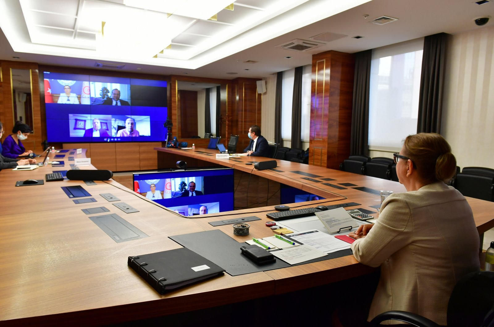 Trade Minister Ruhsar Pekcan addresses the 38th American-Turkish Conference via video link, Sept. 22, 2020. (AA Photo)