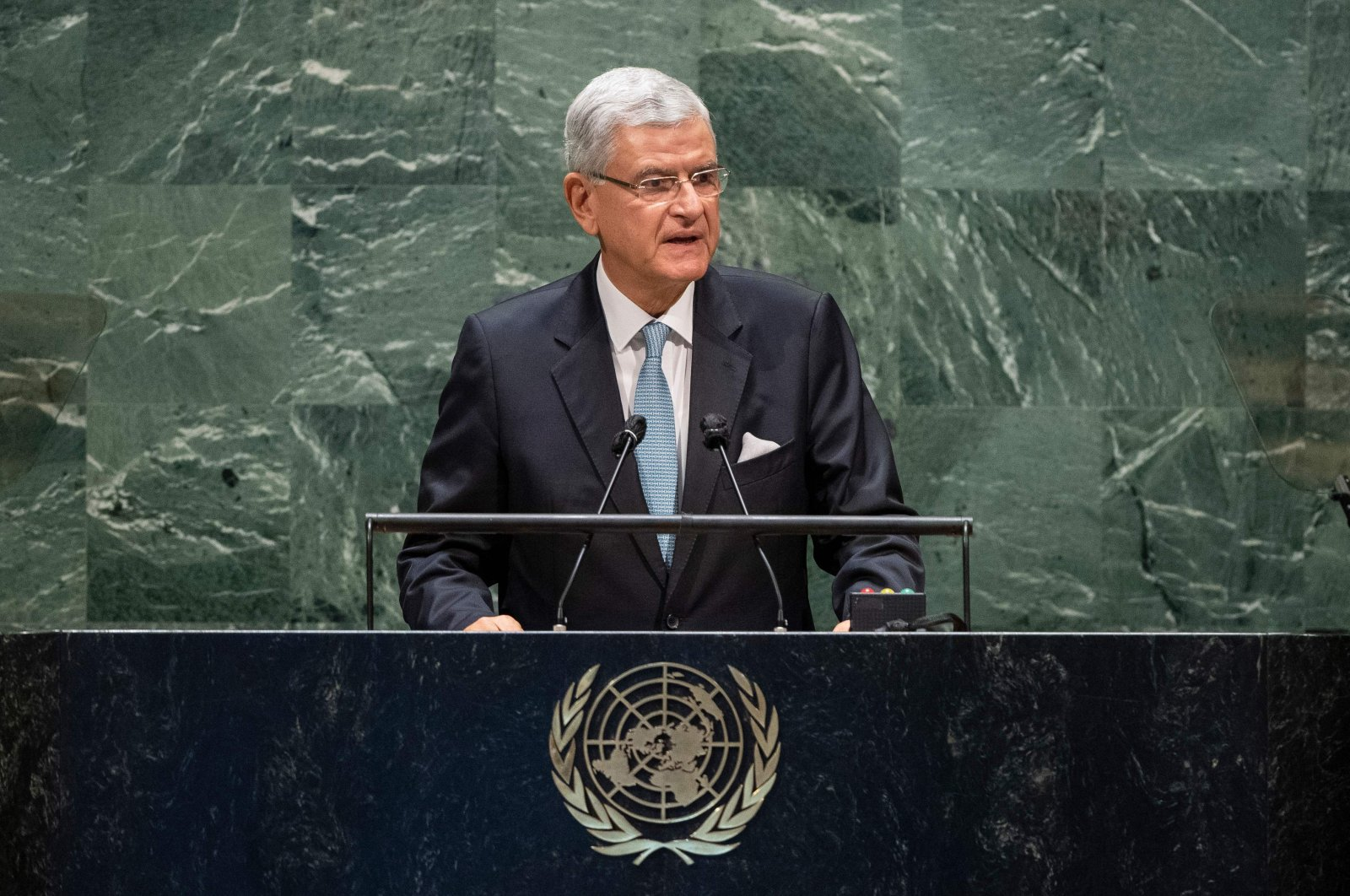 Volkan Bozkır, President of the 75th session of the United Nations General Assembly, opens the general debate, Sept. 22, 2020, at the U.N. in New York. (AFP Photo)
