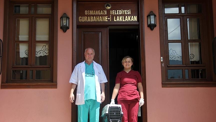 A vet and a nurse pose in front of the stork hospital Gurabahane-i Laklakan in Bursa on June, 23, 2016. (AA PHOTO)