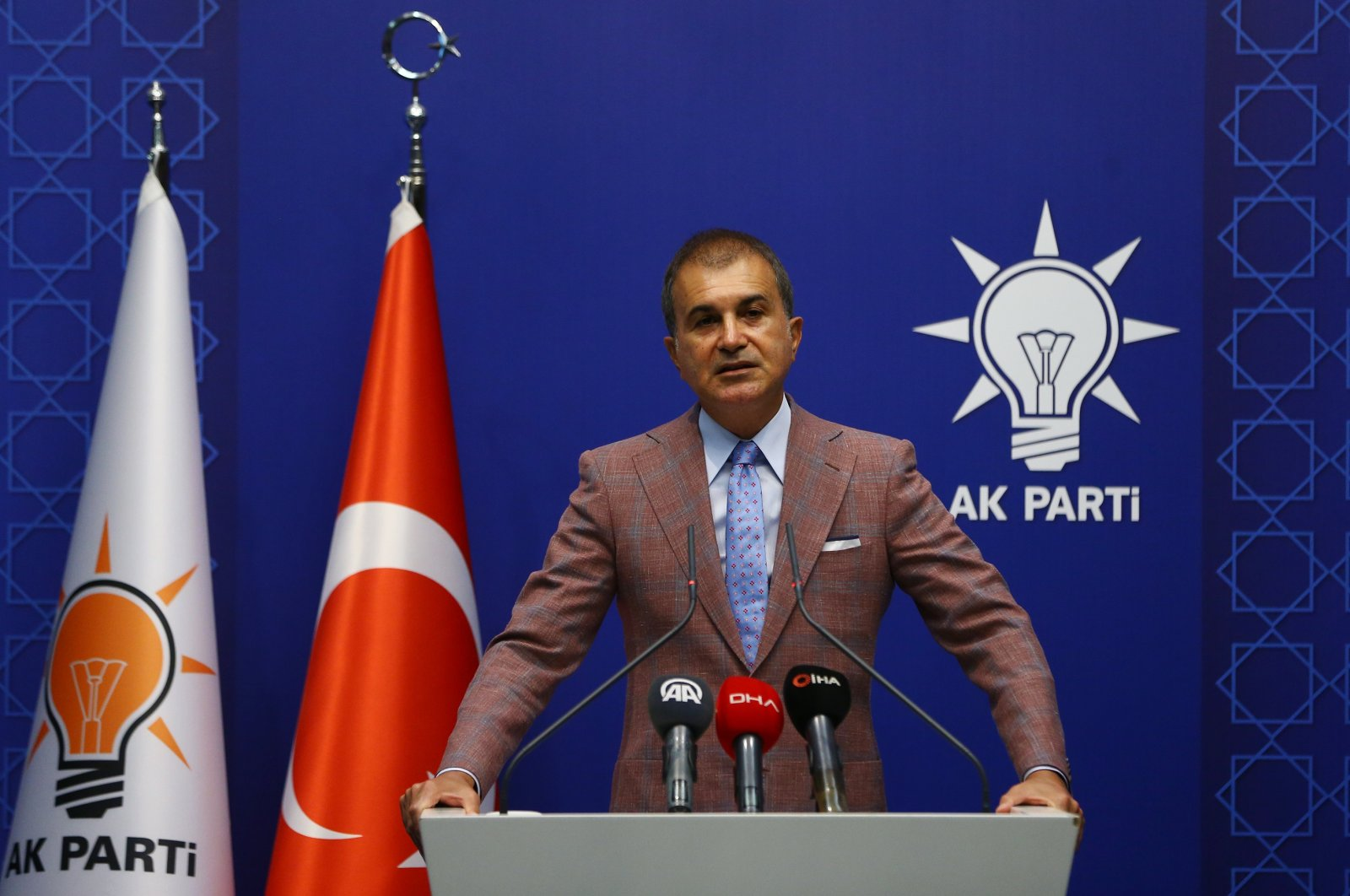 The ruling Justice and Development Party (AK Party) spokesperson Ömer Çelik speaks after a Central Decision and Executive Board meeting at party headquarters in the capital Ankara, Sept. 22, 2020. (AA Photo)
