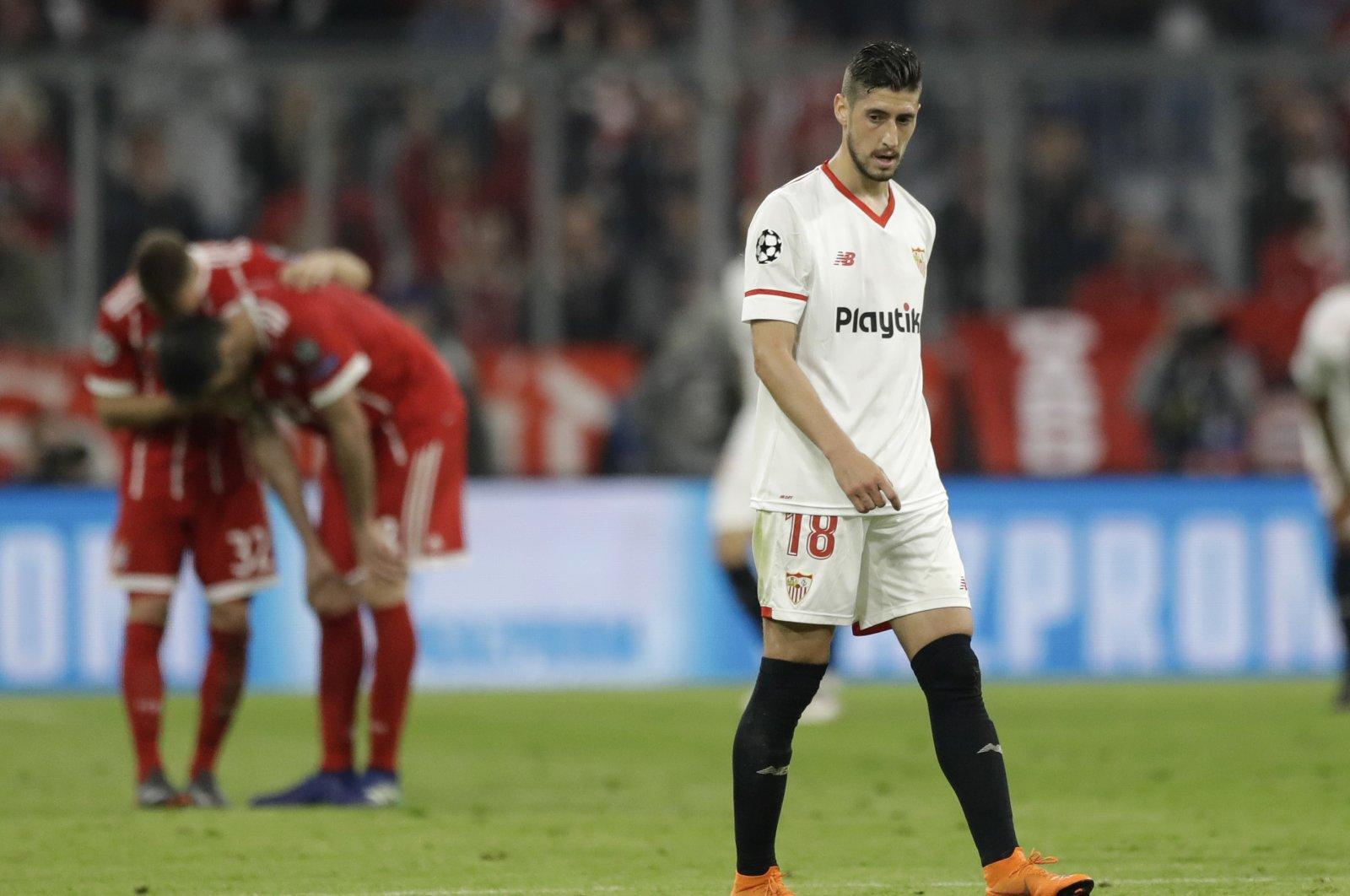 Sevilla's Sergio Escudero reacts during a Champions League quarterfinal match against Bayern Munich, Munich, Germany, April 11, 2018. (AP Photo)