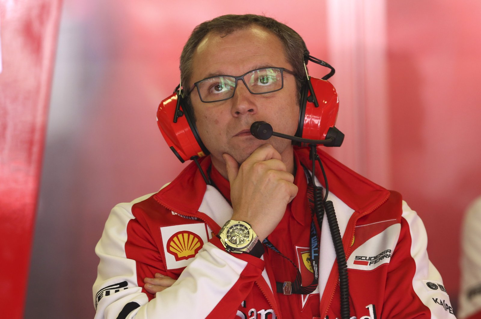 Stefano Domenicali watches a Formula 1 race in Montmelo, Spain, May 10, 2013. (AP Photo)