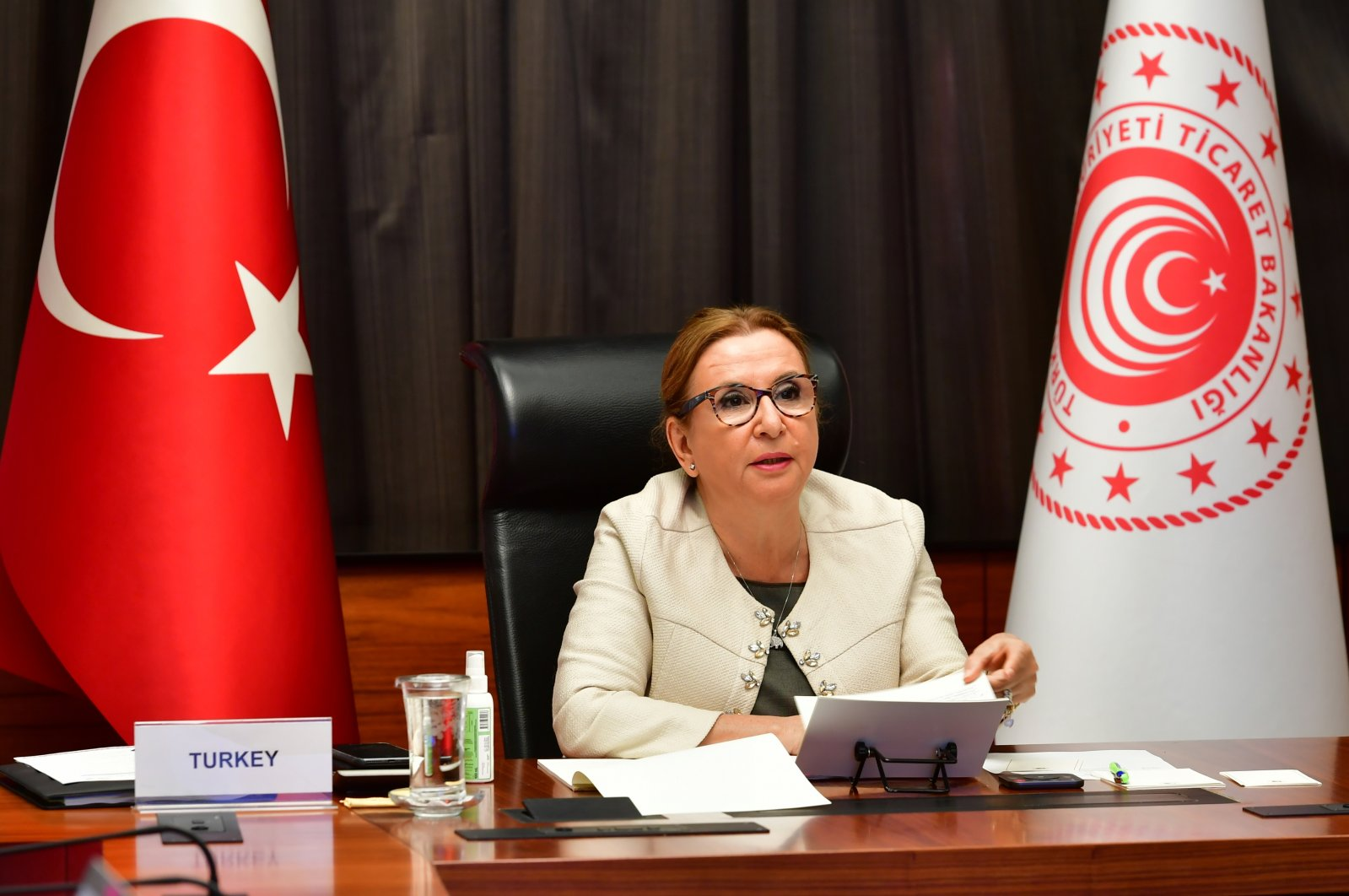 Turkish Trade Minister Ruhsar Pekcan attends the virtual G-20 Trade and Investment Ministers' Meeting, in the capital Ankara, Turkey, Sept. 23, 2020. (Photo by Trade Ministry via AA)