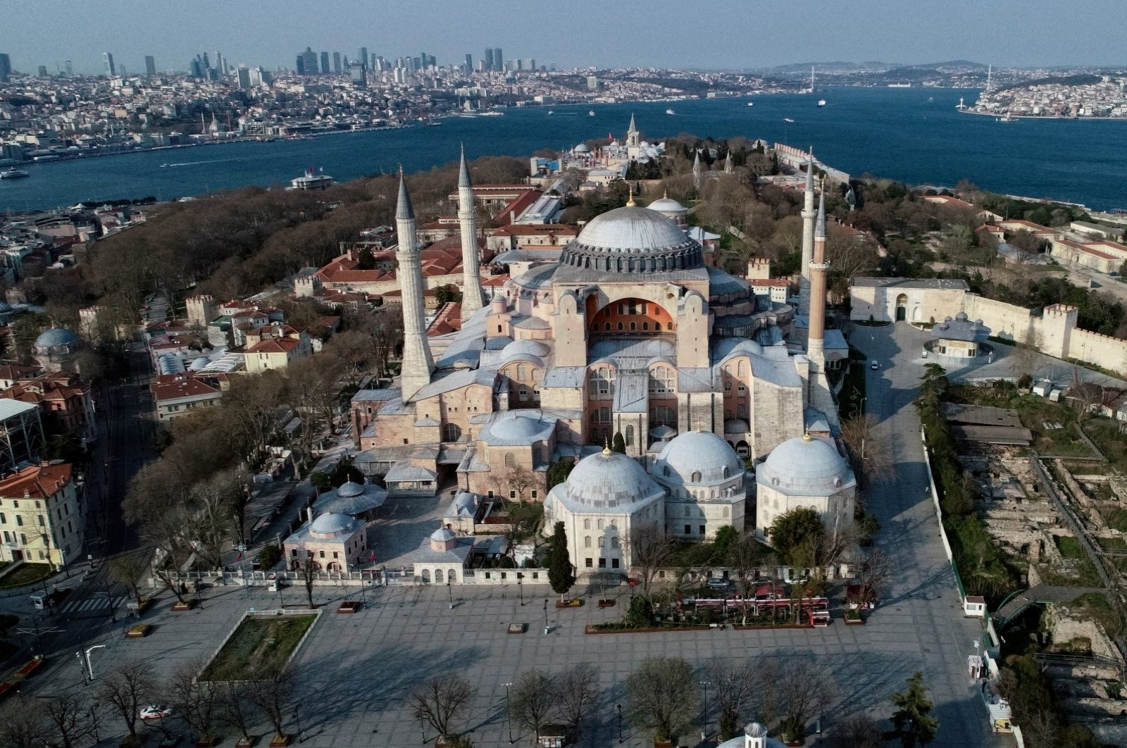 An aerial view of Hagia Sophia Grand Mosque in Istanbul, Turkey, April 11, 2020. (REUTERS PHOTO)