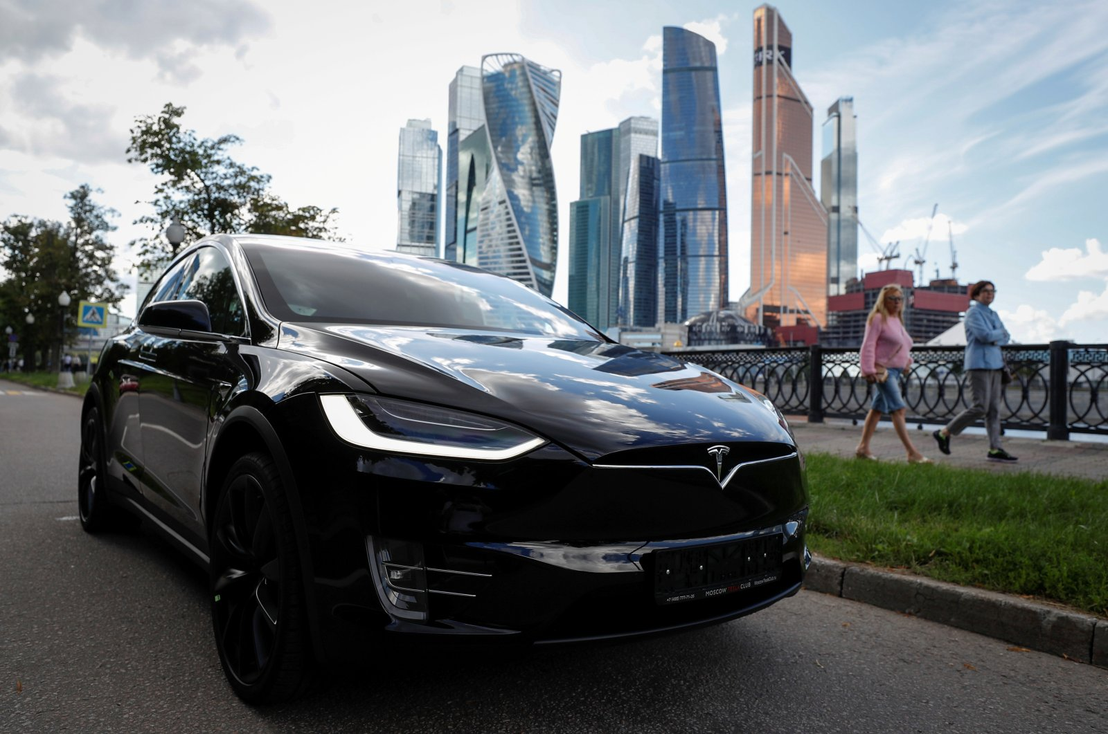 A Tesla Model X electric vehicle is shown in this picture illustration taken in Moscow, Russia, July 23, 2020. (Reuters Photo)