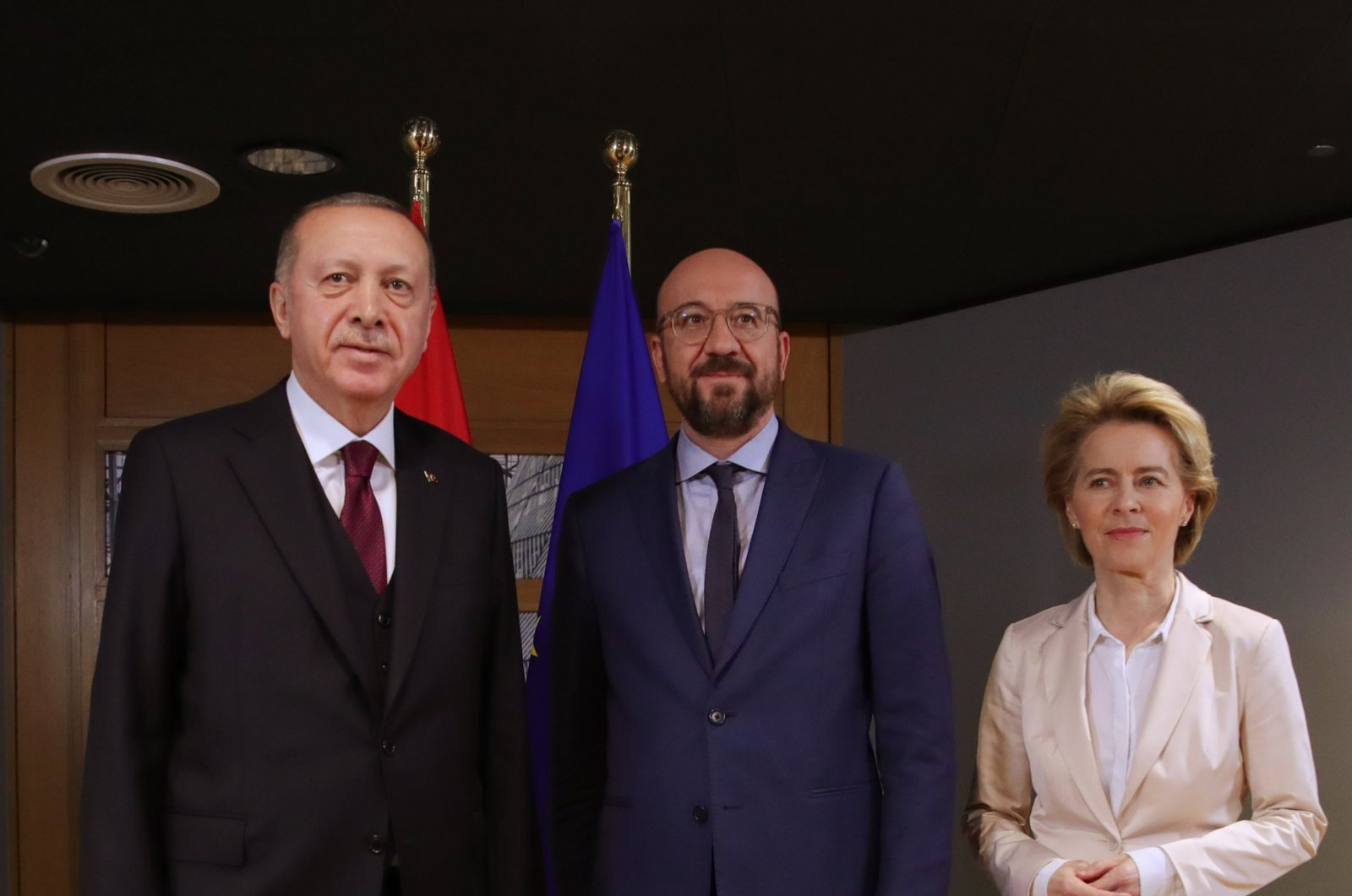 President Recep Tayyip Erdoğan (L), Charles Michel (C), president of the European Council, and Ursula von der Leyen (R), the president of the European Commission, during a meeting in Brussels, March 10, 2020. (AA Photo)