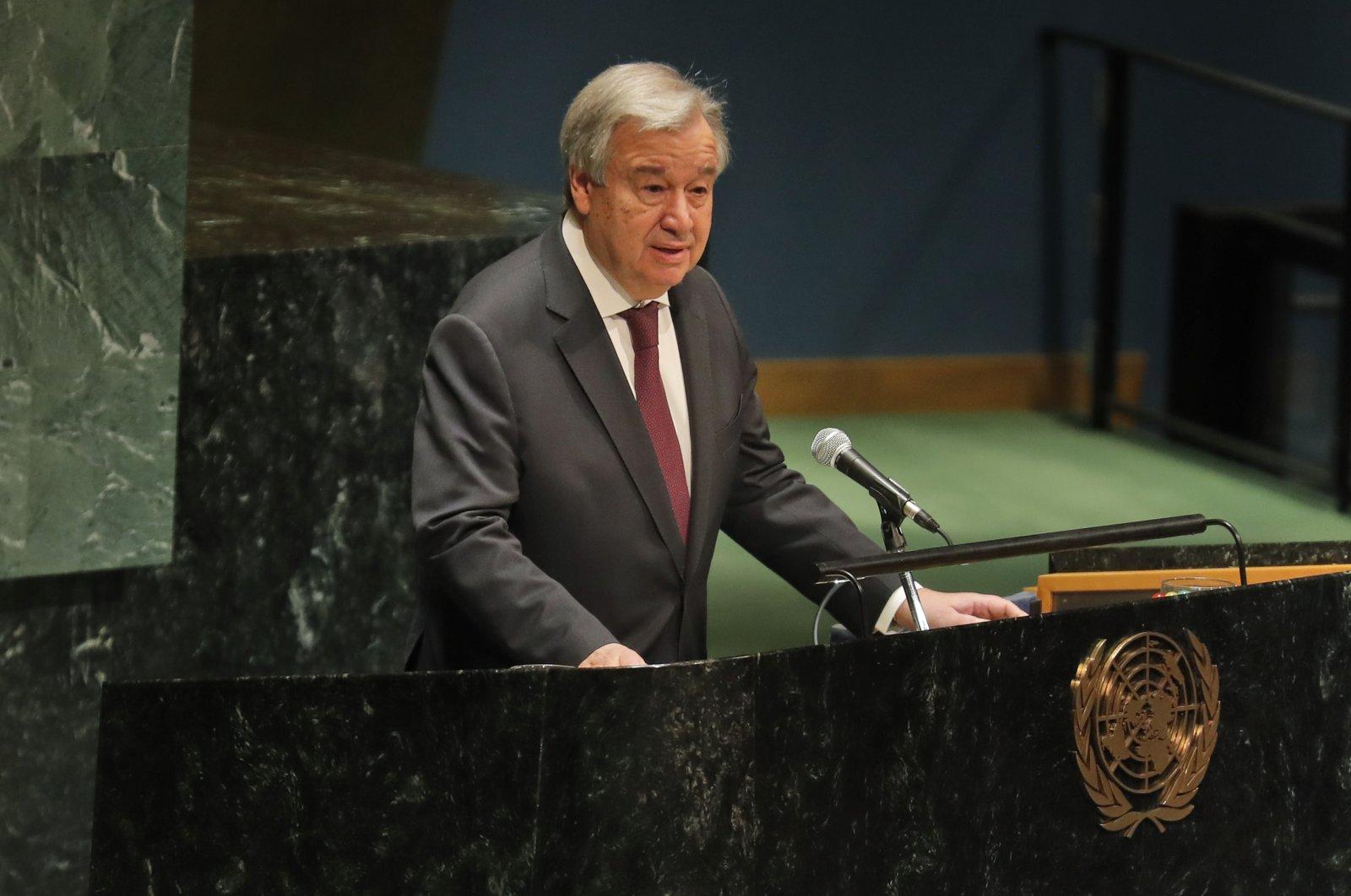 United Nations Secretary-General Antonio Guterres speaks during a Holocaust memorial event at U.N. headquarters, Monday, Jan. 27, 2020. (AP Photo)