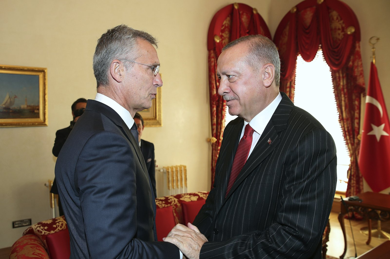 NATO Secretary General Jens Stoltenberg, left, with Turkey's President Recep Tayyip Erdogan before a meeting, in Istanbul, Friday, Oct. 11, 2019. (AP Photo)