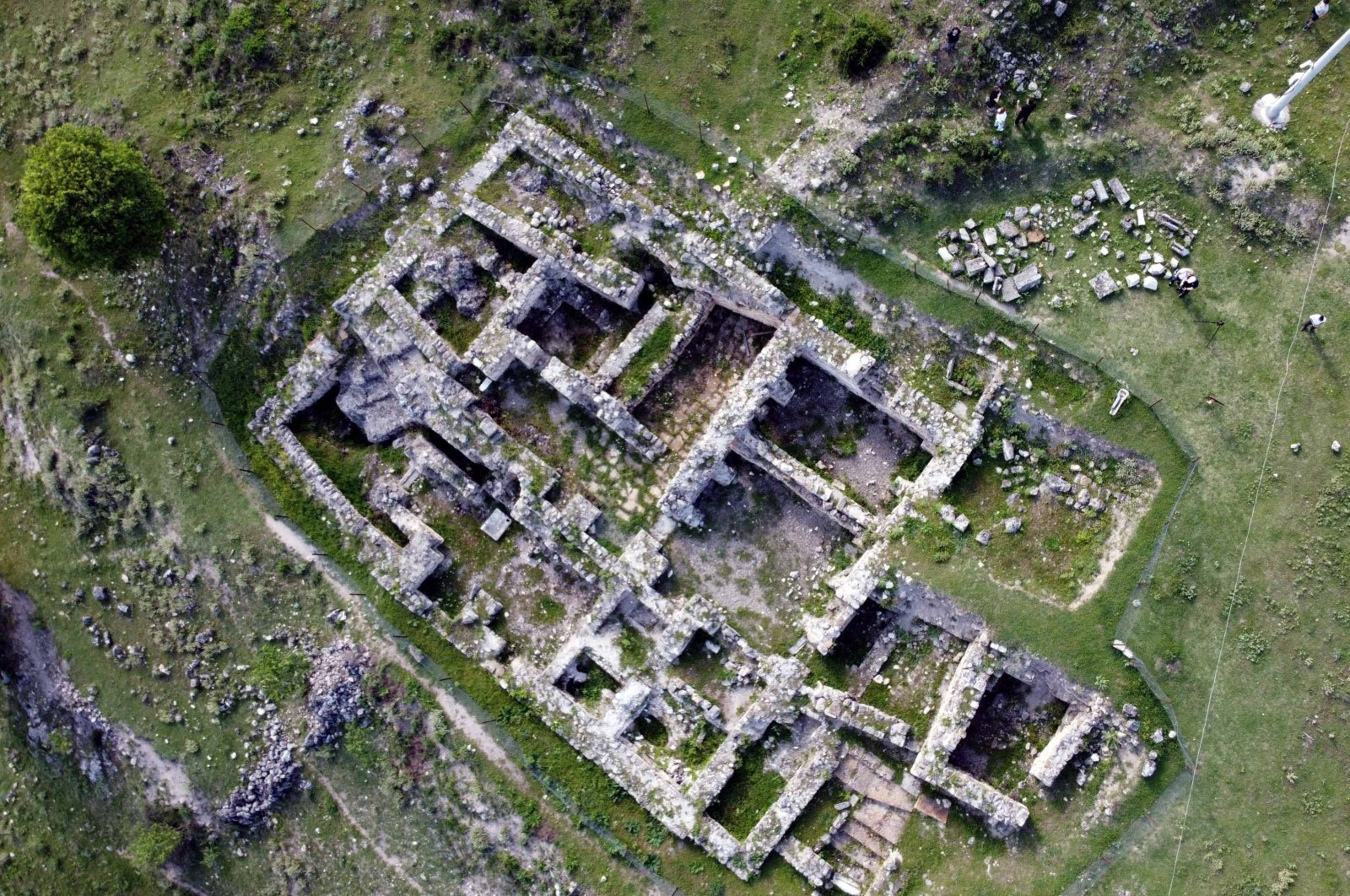 An aerial view of the ancient city of Hadrianopolis, Karabük, northern Turkey, Sept. 20, 2020. (AA PHOTO)