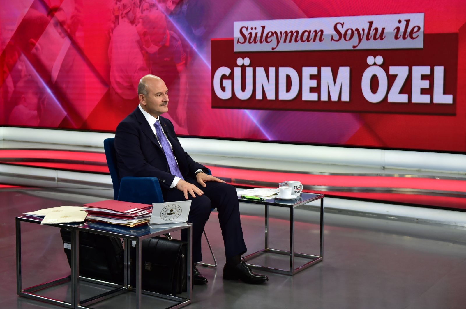Interior Minister Süleyman Soylu attends an exclusive live broadcast on TGRT Haber news channel on Sept. 23, 2020. (IHA Photo)